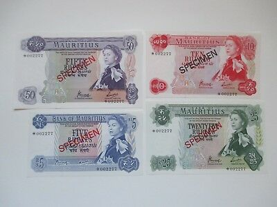 1978 Bank Of Mauritius 4 Note Specimen Set - 5 To 50 Rupees
