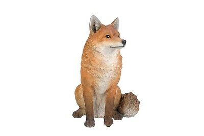 """Sitting Red Fox Decor Lfe Size Life Like Realistic Garden Statue 19"""" High"""