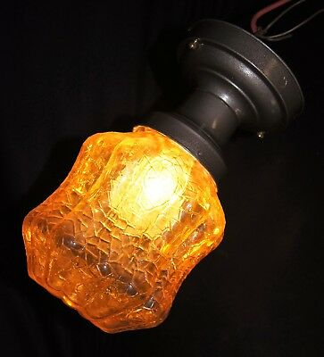 Vtg Deco Era Flush Mount Cracked Glass Shade Chandelier Ceiling Fixture  1940's