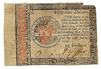 January 1779 $55 Continental Currency Hall & Sellers Great Early American Note