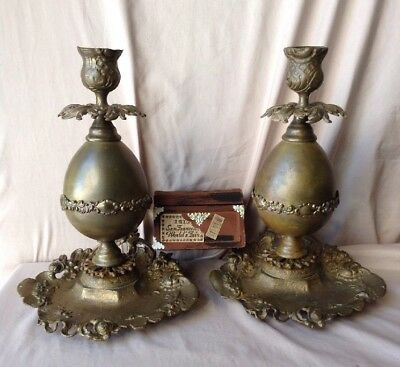 ANTIQUE FRENCH ROCOCO Louis XV Ornate Gilt Bronze Pair Of Candlesticks Floral