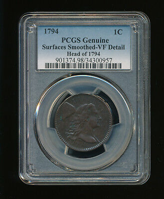 1794-P Head of 1794 Flowing Hair Large Cent 1C PCGS Genuine Smoothed VF Details