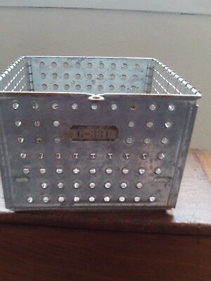 "Vintage wire locker metal baskets bins with locker tags 12 x 13"" Lyon"