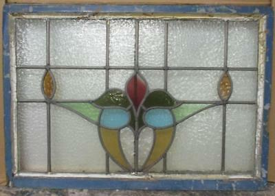 "LARGE OLD ENGLISH LEADED STAINED GLASS WINDOW Gorgeous Abs. Floral 29.5"" x 21"""