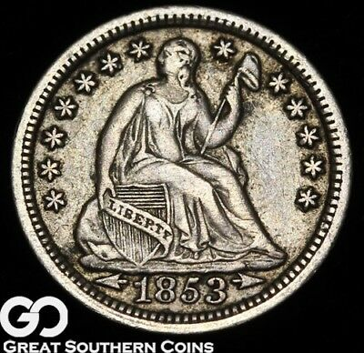 1853 Seated Liberty Half Dime, with Arrows, Sought After Date