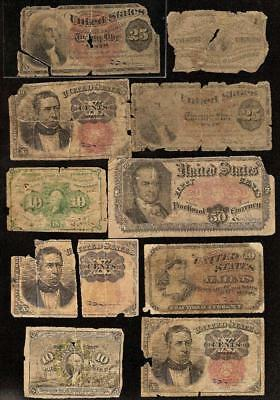 10 Pc Lot 1862-1876 Fractional Currency 3 10 25 50 Cent Notes Old Paper Money