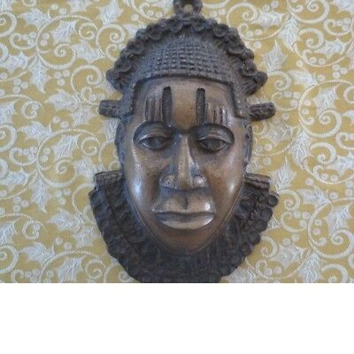 African Carved Brass Mask