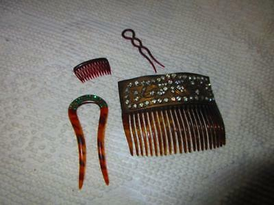 Vintage Lot Of 4 Ladies Hair Combs - Rhinestones