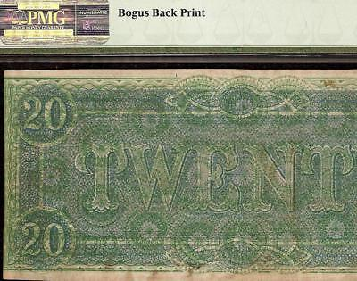 1864 $20 Dollas Bogus Back Print Confederate States Currency Note T-67 Pmg 63