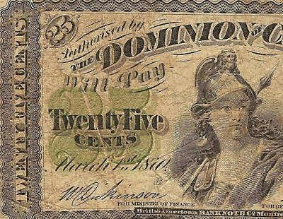 1870 Shinplaster 25 Cent Note Dominion Of Canada Currency Fractional With Error