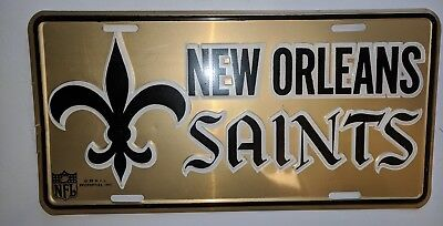 Vintage early 1970s New Orleans Saints Metal License Plate Excellent Condition