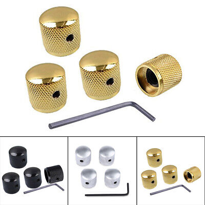 Metal Volume Tone Control Knobs for Electric Guitar Bass Black/Gold/Silver 4 PK