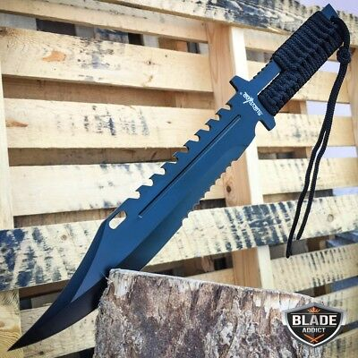 "13"" TACTICAL SURVIVAL Rambo Full Tang FIXED BLADE KNIFE Hunting w/ SHEATH NEW -E"