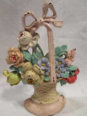 Vintage HUBLEY DOORSTOP Cast Iron Flower Basket  Floral Bow #121 Shabby chic