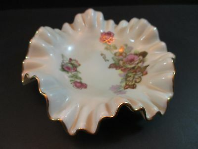 "Vintage Original Arnart Creation Japan Ruffled 5""  Dish Floral Decor tray"