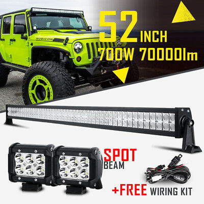 "52"" 700W +2x 4"" CREE LED LIGHT BAR SPOT FLOOD COMBO OFFROAD TRUCK FOR JEEP JK 50"