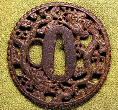 "Fine Signed TSUBA 18-19th C Japanese Edo Antique Koshirae fitting ""Dragon"" e626"