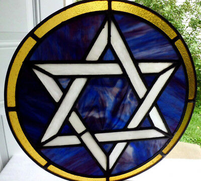 Antique Vtg Church Stained Glass Architectural Salvage Sun Catcher Star W67