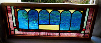 Antique Vtg Church Stained Glass Window Architectural Salvage Six Arches W25