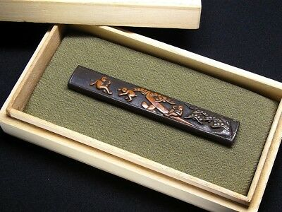"Rare motif KOZUKA 18-19th C Japanese Edo Antique Koshirae fitting ""Monkeys"" e663"