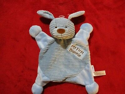 Babies R Us My First Blankie Blue Puppy Dog Security Blanket Lovey Plush Blue