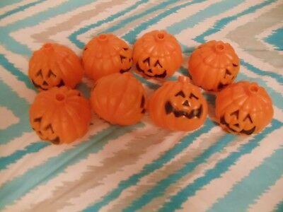 Lot of 8 Two Sided Faces Halloween Pumpkin String Light Bulb Covers