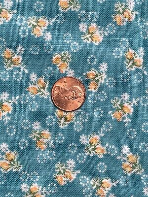 Vintage FeedSack FlourSack Fabric FQ Aqua Green Tiny Scale Yellow Orange Floral