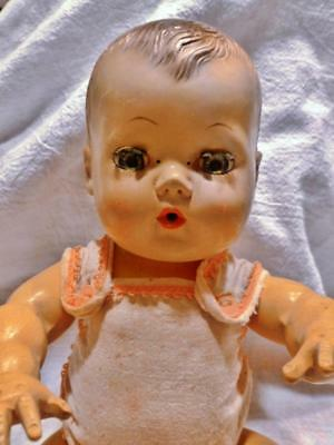 """11"""" American Character TINY TEARS DOLL - Original Sunsuit Vintage 1950's Rubber"""