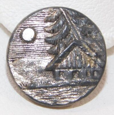 Atq Cabin Moon Brass Metal Building Architecture Picture Button 5/8