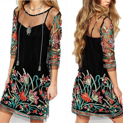 Womens Fashion Boho Vintage Lace Mesh Sheer Embroidered Floral Party Mini Dress