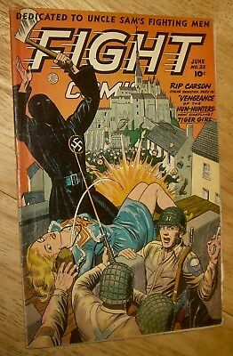 FIGHT Comics #32 scarce Fiction House WWII *classic* cover GGA war rangers nr