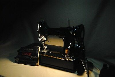 Vintage 1955 Singer Featherweight Sewing Machine w/ Portable Casing