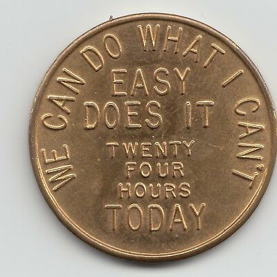 24hours Easy Does It AA brass Alcoholics Anonymous sobriety token chip coin