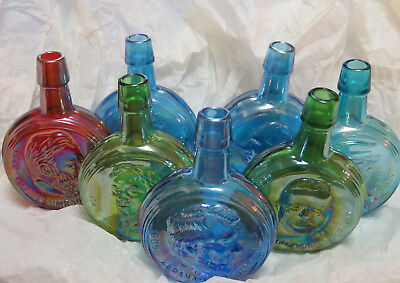 7 Commemorative presidents Wheaton carnival glass bottles decanter presidential