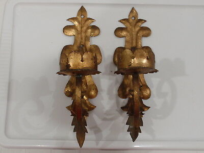 Vintage Italian Gilt Metal Tole Leaf Candle Sconces Antique Pair