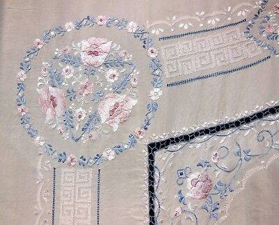 Vintage Chinese Antique Tablecloth Pastel Floral EMBROIDERED SILK 69 x 135