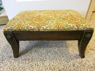 Antique Wood Cloth Covered Foot Stool Carved Button Corners