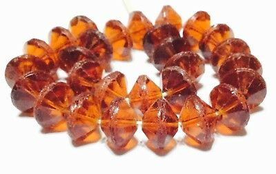 Czech Bohemian Glass Amber Vaseline Shape Trade Beads