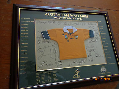 Australian Wallabies Rugby World Cup Team Signed Limited Edition Jersey Framed