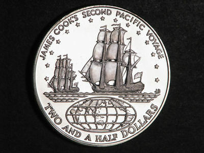 COOK ISLANDS 1974 $2 1/2 Cook's 2nd Voyage Silver Crown Choice Proof