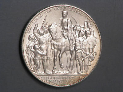 GERMANY-PRUSSIA 1913A 2 Mark Napoleon Defeat Silver UNC