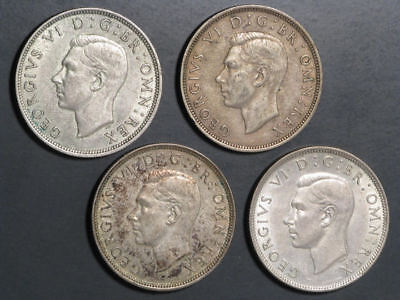 GREAT BRITAIN 1941-1944 1/2 Crown Silver - 4 Coins Avg. VF-XF