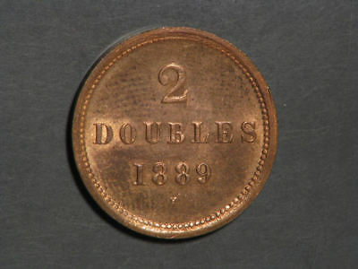 GUERNSEY 1889H 2 Doubles Mostly Red BU