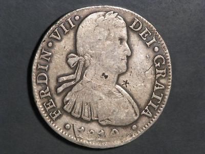 MEXICO 1810MoHJ 8 Reales Silver Crown - Chopmarks