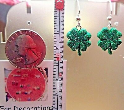 Glitter green Shamrocks (dime size) St. Patrick's Day Earrings Four Leaf Clovers