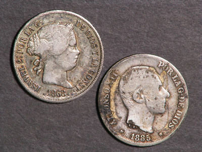 PHILIPPINES 1868-1885 10 Centimos Silver - 2 Coins