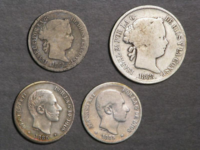 PHILIPPINES 1868-1885 10-20 Centimos Silver - 4 Coins