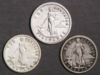 PHILIPPINES 1903-1911S 10 Centavos Silver - 3 Coins