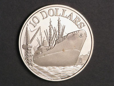 SINGAPORE 1976 $10 Ship Silver Crown Proof
