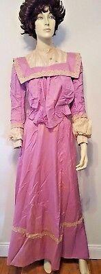 Victorian 1800's Purple Skirt & Top Silk Lace 2pc Outfit Antique Vintage